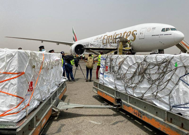 Nigeria's first batch of Oxford/AstraZeneca vaccines against coronavirus disease (COVID-19) arrives at the international airport of Abuja, Nigeria March 2, 2021. REUTERS/Abraham Archiga