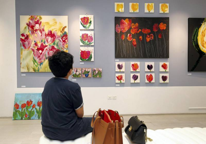 Dubai, United Arab Emirates - November 30, 2020: Tulip collection by Anjali Kakar. Mawaheb, an art studio for people with disabilities, hosts its final exhibition before it closes. Monday, November 30th, 2020 in Dubai. Chris Whiteoak / The National