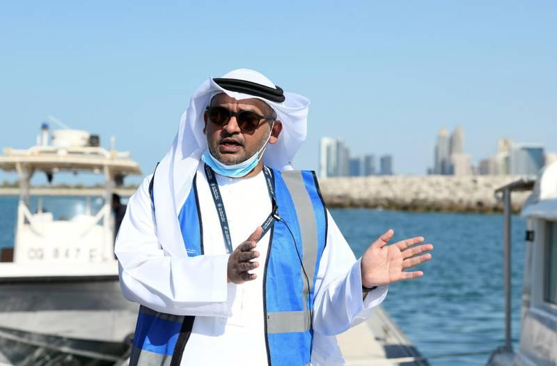 Abu Dhabi, United Arab Emirates - Sea inspection tour with Saif Rashid Al Mheiri from Abu Dhabi Maritime as he educates us of the unsafe measures both Covid-19, and non Covid-19 related along the waters of Abu Dhabi. Khushnum Bhandari for The National