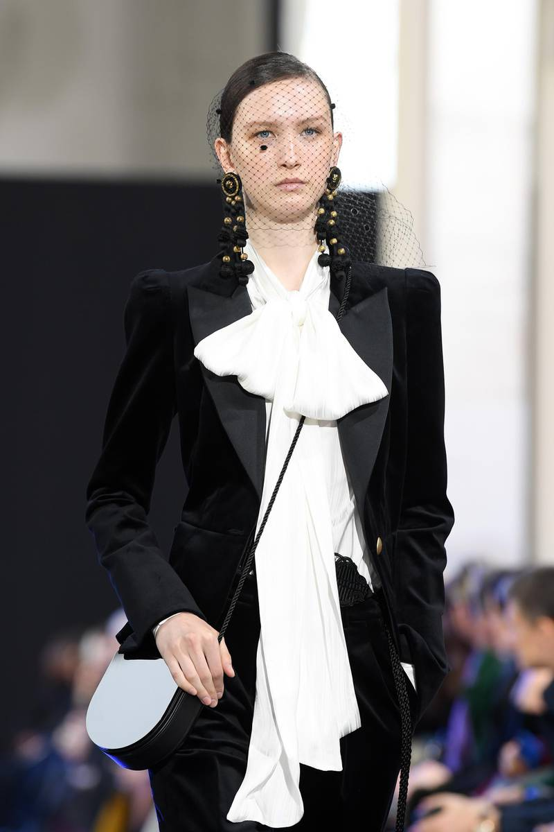 PARIS, FRANCE - FEBRUARY 29: (EDITORIAL USE ONLY) A model walks the runway during the Elie Saab show as part of the Paris Fashion Week Womenswear Fall/Winter 2020/2021 on February 29, 2020 in Paris, France. (Photo by Pascal Le Segretain/Getty Images)