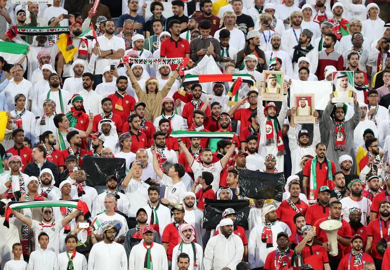 Abu Dhabi, United Arab Emirates - January 29, 2019: UAE fans before the semi final between the UAE and Qatar in the Asian Cup 2019. Tuesday, January 29th, 2019 at Mohamed Bin Zayed Stadium Stadium, Abu Dhabi. Chris Whiteoak/The National
