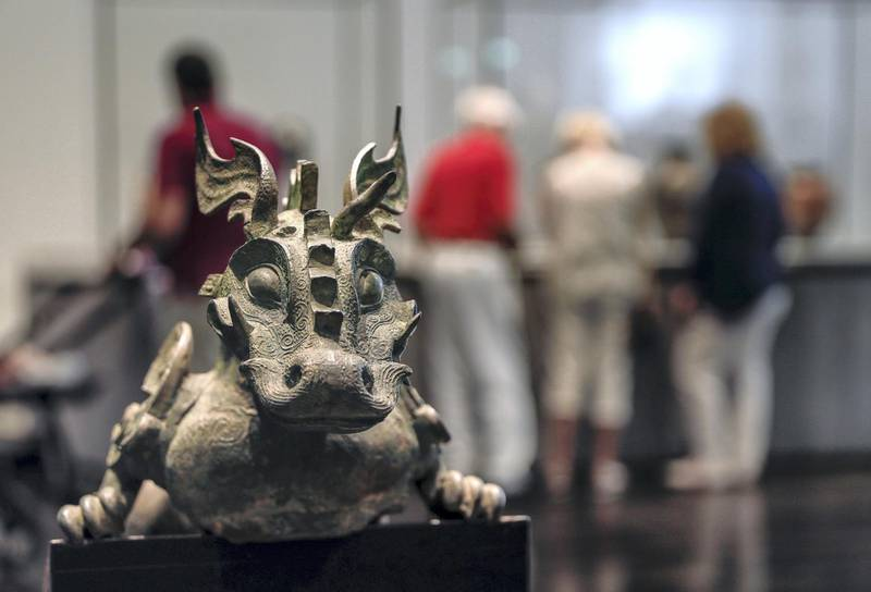 Abu Dhabi, United Arab Emirates, March 12, 2020.  Stock Images;  The Louvre Abu Dhabi.  Shot November 19, 2019.  Winged Dragon; Warring State period; Northern China, 475-221 BCE.Victor Besa / The NationalSection:  NA standaloneReporter: