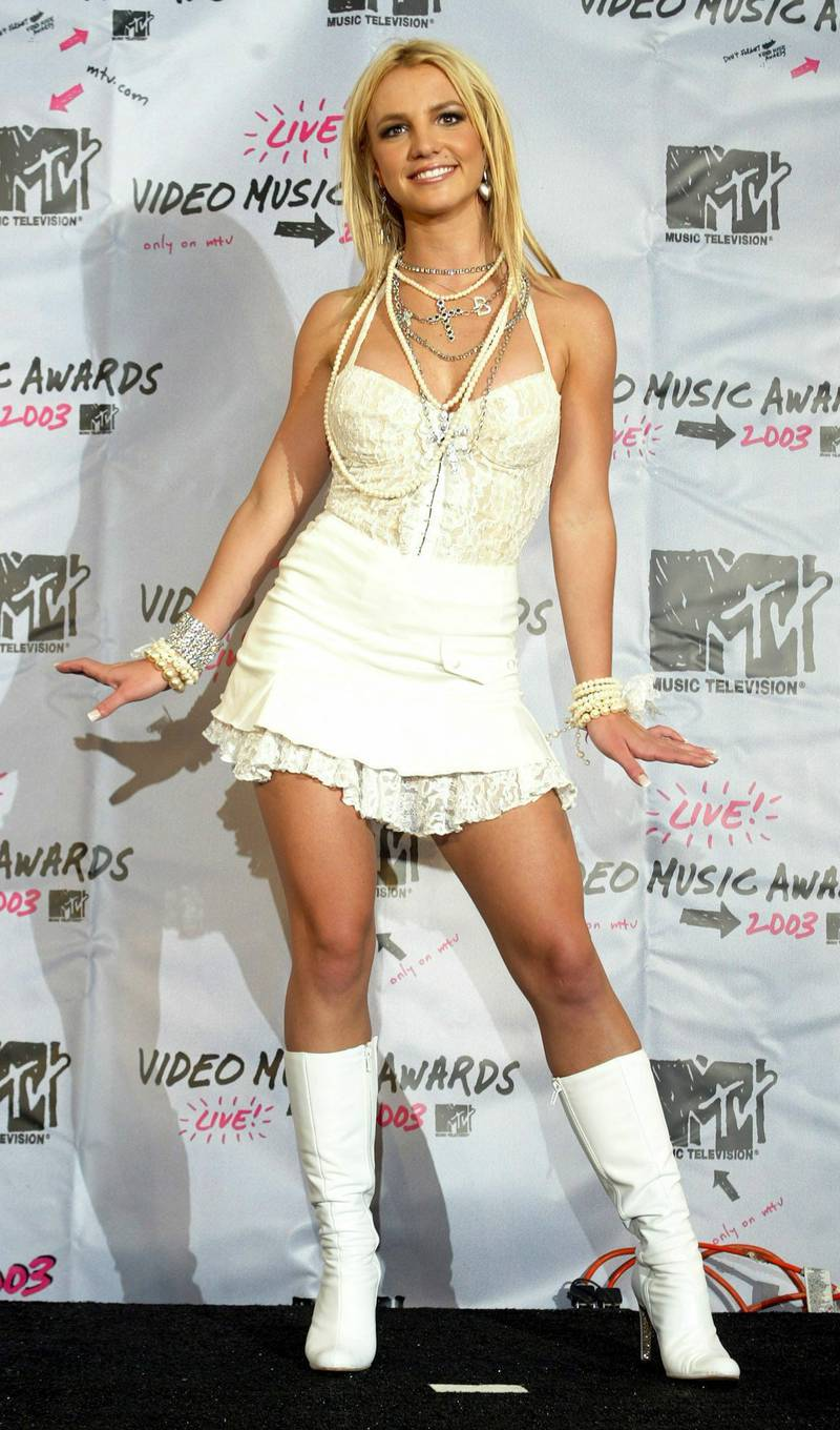 US singer Britney Spears poses backstage after performing at the 2003 MTV Video Music Awards at Radio City Music Hall in New York City, Thursday 28 August 2003. EPA PHOTO/EPA/JASON SZENES//