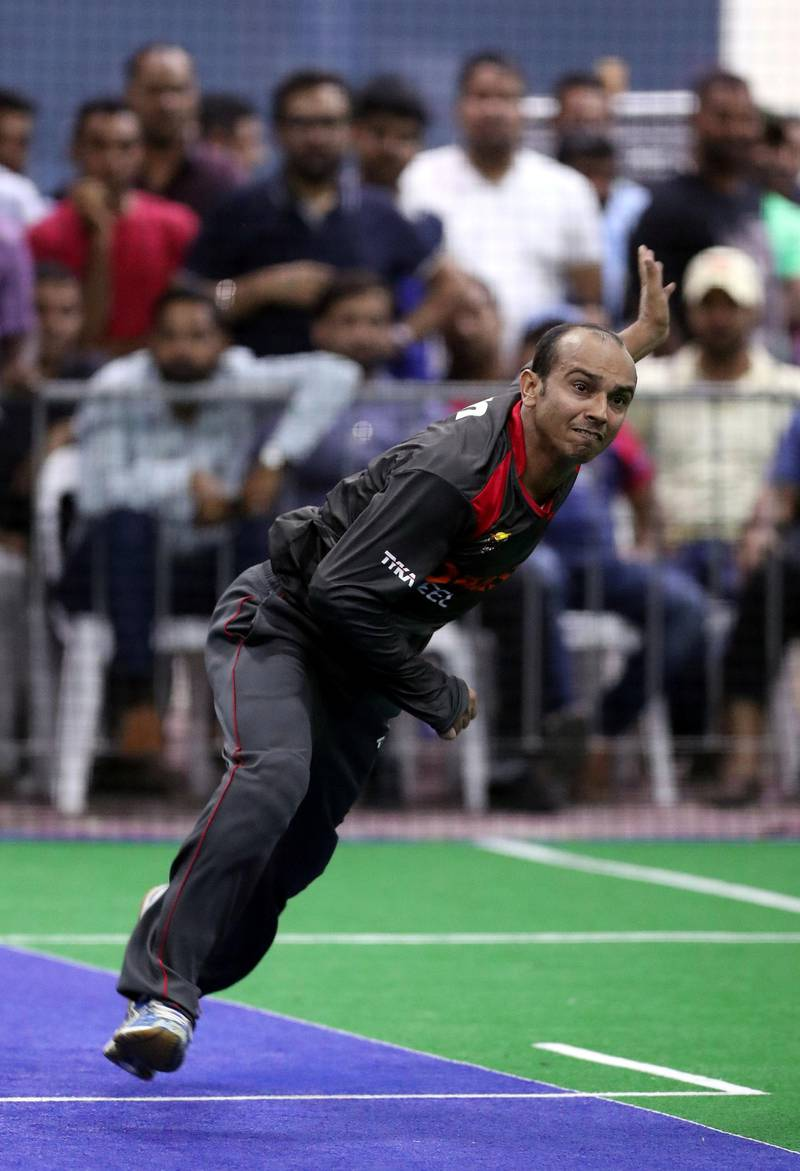 Dubai, United Arab Emirates - September 19th, 2017: Nadir Hassain of the UAE during the game between the UAE v Sri Lanka in the W.I.C.F Indoor cricket world cup 2017. Tuesday, Sept 19th, 2017, Insportz, Al Quoz, Dubai. Chris Whiteoak / The National