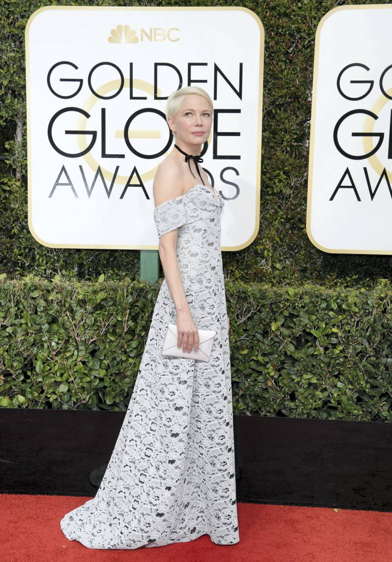 BEVERLY HILLS, CA - JANUARY 08:  74th ANNUAL GOLDEN GLOBE AWARDS -- Pictured: Actress Michelle Williams arrives to the 74th Annual Golden Globe Awards held at the Beverly Hilton Hotel on January 8, 2017.  (Photo by Kevork Djansezian/NBC/NBCU Photo Bank via Getty Images)