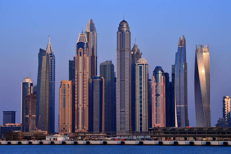 A picture taken on March 25, 2020 shows a skyline of skyscrapers in the Emirati city of Dubai . (Photo by GIUSEPPE CACACE / AFP)