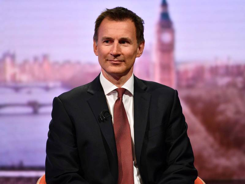 British Foreign Minister Jeremy Hunt appears on BBC TV's The Andrew Marr Show in London, Britain March 10, 2019. Jeff Overs/BBC/Handout via REUTERS THIS IMAGE HAS BEEN SUPPLIED BY A THIRD PARTY. NO RESALES. NO ARCHIVES. NOT FOR USE MORE THAN 21 DAYS AFTER ISSUE.