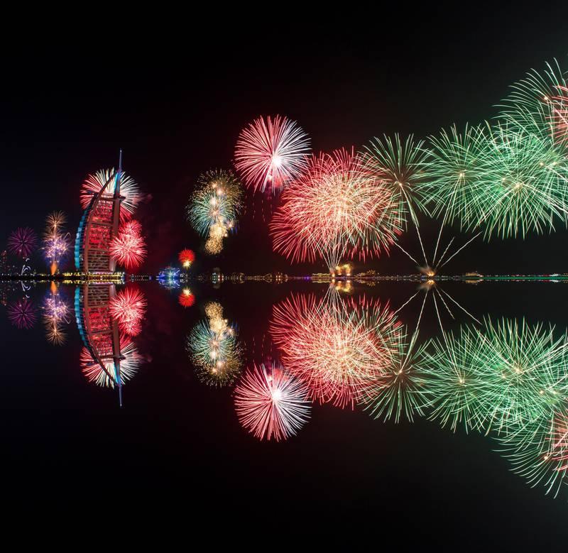 Burj Al Arab, Dubai during New Year 2016 Celebration. Getty Images
