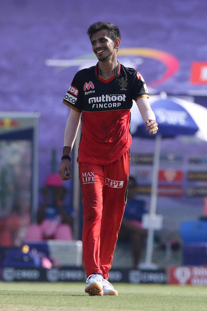 Yuzvendra Chahal of Royal Challengers Bangalore celebrates the wicket of Mahipal Lomror of Rajasthan Royals  during match 15 of season 13 of Indian Premier League (IPL) between the Royal Challengers Bangalore and the Rajasthan Royals at the Sheikh Zayed Stadium, Abu Dhabi  in the United Arab Emirates on the 3rd October 2020.  Photo by: Pankaj Nangia  / Sportzpics for BCCI