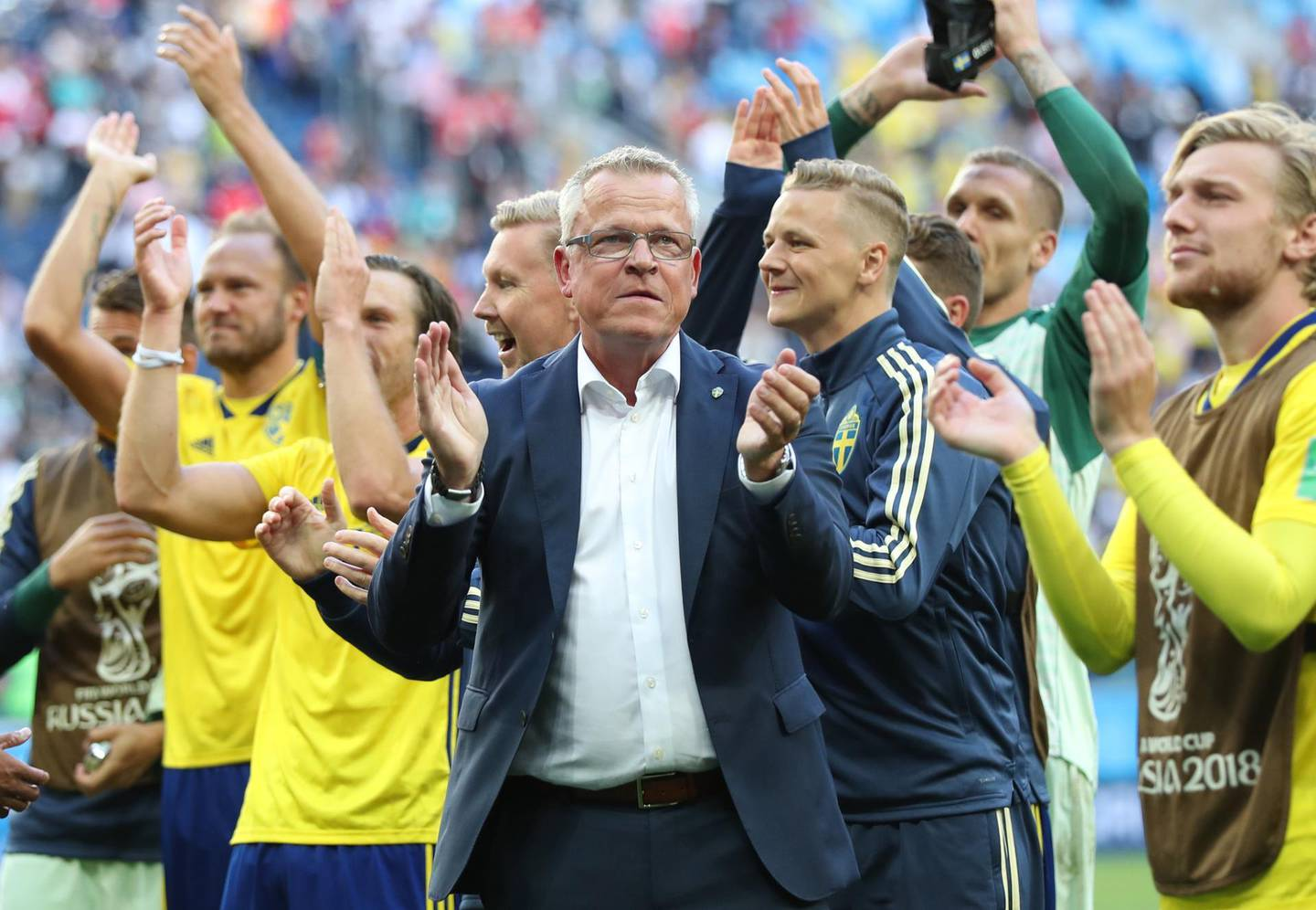 epa06861413 Sweden's coach Janne Andersson (C) celebrates after the FIFA World Cup 2018 round of 16 soccer match between Sweden and Switzerland in St.Petersburg, Russia, 03 July 2018. Sweden won the match 1-0.  (RESTRICTIONS APPLY: Editorial Use Only, not used in association with any commercial entity - Images must not be used in any form of alert service or push service of any kind including via mobile alert services, downloads to mobile devices or MMS messaging - Images must appear as still images and must not emulate match action video footage - No alteration is made to, and no text or image is superimposed over, any published image which: (a) intentionally obscures or removes a sponsor identification image; or (b) adds or overlays the commercial identification of any third party which is not officially associated with the FIFA World Cup)  EPA/TOLGA BOZOGLU   EDITORIAL USE ONLY