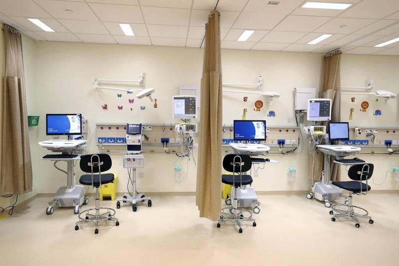 Abu Dhabi, United Arab Emirates - November 14, 2019: Post-anesthesia care unit. Tour around new Sheikh Shakhbout hospital. Thursday the 14th of November 2019. Sheikh Shakbout Medical City, Abu Dhabi. Chris Whiteoak / The National