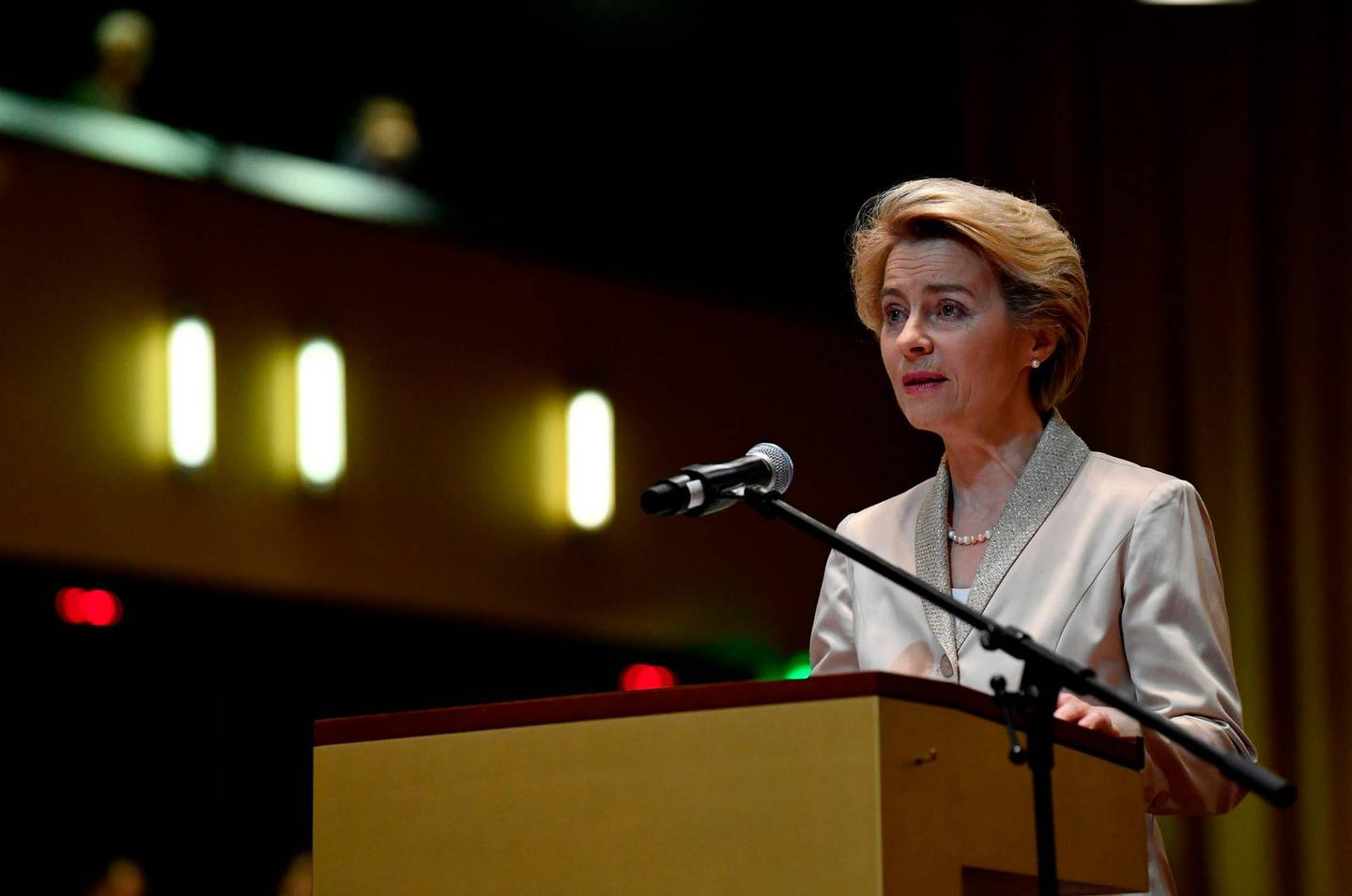 European Commission President Ursula von der Leyen takes the oath of office, on January 13, 2020, at the Court of Justice of the European Union in Luxembourg. / AFP / JOHN THYS