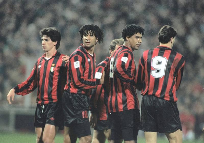 9 Dec 1992:   AC Milan Players Demetrio Albertini, Ruud Gullit, Frank Rijkaard and Marco Van Basten form a wall in the European Cup match  against PSV Eindhoven. AC Milan won the match 2-1. \ Mandatory Credit: Chris  Cole/Allsport