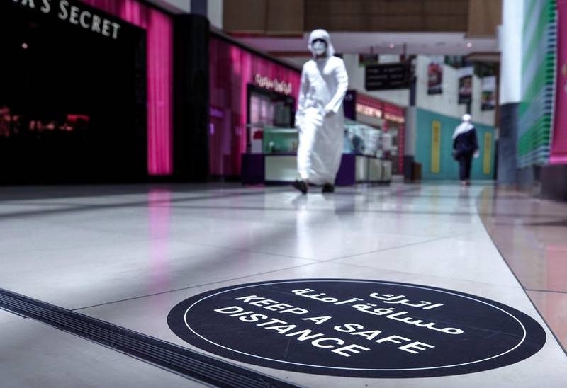 Abu Dhabi, United Arab Emirates, May 10, 2020.   The reopening of the Al Wahda Mall during the Coronavirus pandemic.  Distance signs on the mall floors.Victor Besa/The NationalSection:  NAReporter: