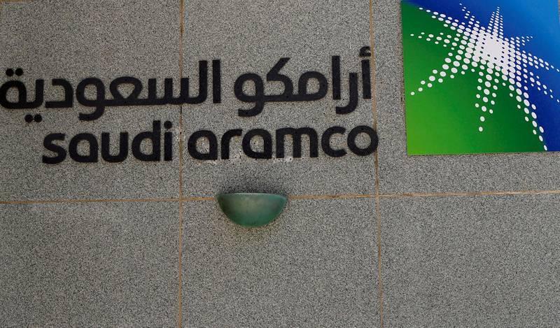 FILE PHOTO: The logo of Saudi Aramco is seen at Aramco headquarters in Dhahran, Saudi Arabia May 23, 2018. . REUTERS/Ahmed Jadallah/File Photo