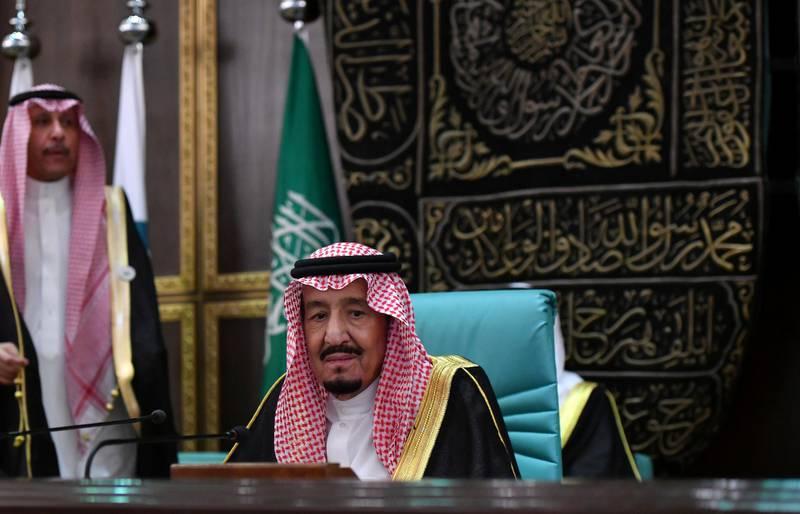 Saudi Arabia's King Salman bin Abdulaziz attends the 14th Islamic summit of the Organisation of Islamic Cooperation (OIC) in Mecca, Saudi Arabia June 1, 2019. REUTERS/Waleed Ali