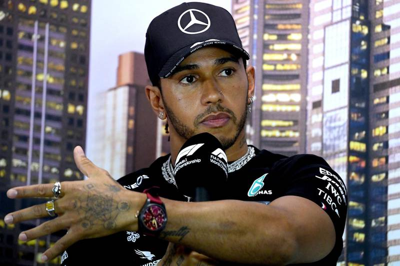 Mercedes' British driver Lewis Hamilton attends a press conference at the Albert Park circuit ahead of the Formula One Australian Grand Prix in Melbourne on March 12, 2020. (Photo by William WEST / AFP) / -- IMAGE RESTRICTED TO EDITORIAL USE - STRICTLY NO COMMERCIAL USE --