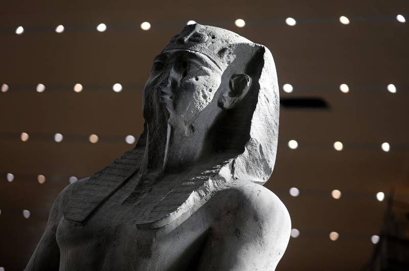 The statue of Seti I is seen after it was transferred to the Grand Egyptian Museum in Giza, Egypt September 21, 2019. REUTERS/Mohamed Abd El Ghany