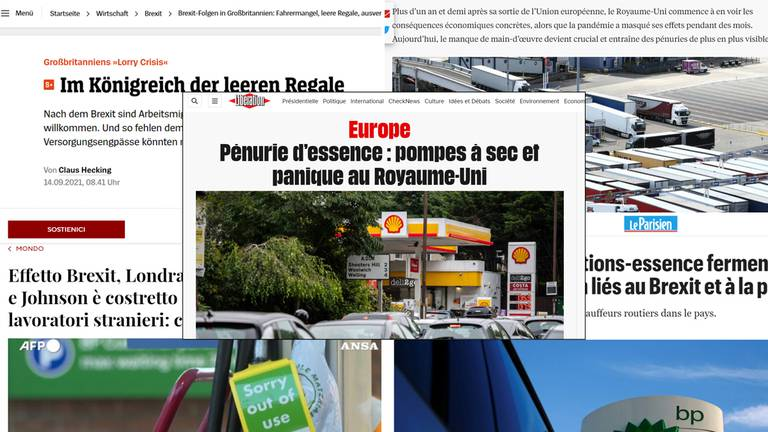 An image that illustrates this article Fuel shortage schadenfreude as Europe taunts Britain
