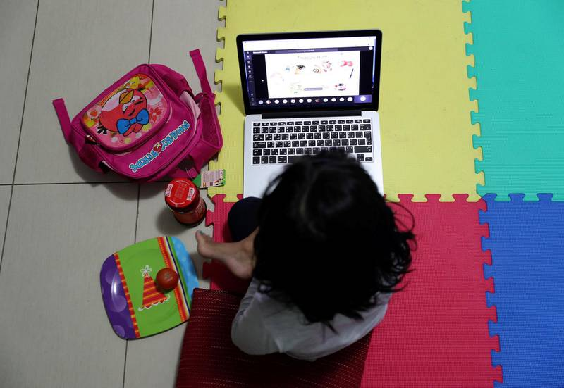 DUBAI, UNITED ARAB EMIRATES , April 9 – 2020 :- One of the student of FS 2 during the online class at her home in Masakin Al Furjan area in Dubai. All the schools are closed in the UAE as a preventive measure against coronavirus. (Pawan Singh / The National) For News/Online/Instagram.