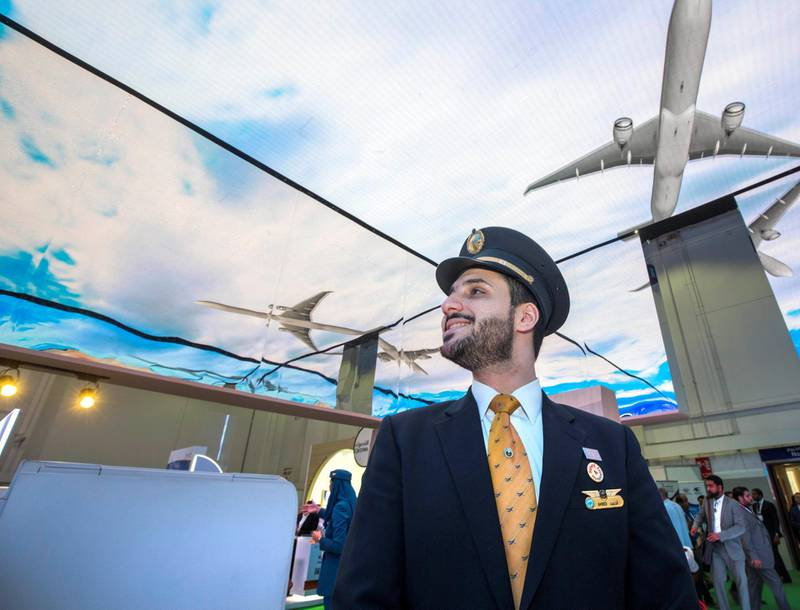 DUBAI, UNITED ARAB EMIRATES, 24 APRIL 2018 - Saudi Airlines crew at Arabian Travel Market in Dubai World Trade Centre, Dubai. Leslie Pableo for The National