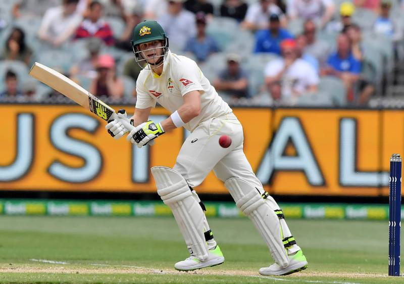 FILE - A Friday, Dec. 29, 2017 file photo of Australia's Steve Smith pulling the ball against England during the fourth day of their Ashes cricket test match in Melbourne, Australia. Captain Steve Smith is the No. 1 batsman in test cricket after a stupendous series against England, the Marsh brothers form a mean middle order to follow the likes of Smith and opener David Warner, and off-spinner Lyon provides an additional bowling threat on pitches more suited to spin, like the first three venues for this series. (AP Photo/Andy Brownbill, File)