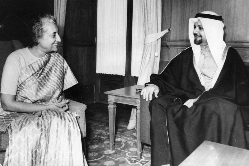 Saudi Arabian politician and member of OPEC, Sheik Ahmed Zaki Yamani, meeting with Indian prime minister Indira Gandhi (1917 - 1984), during talks in New Delhi.   (Photo by Keystone/Getty Images)