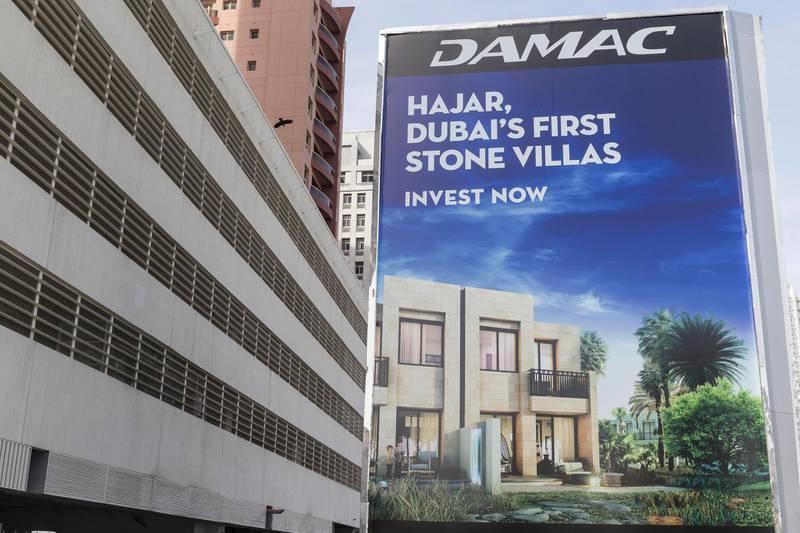 DUBAI, UNITED ARAB EMIRATES, 13 APRIL 2017. Signage in Barsha Heights of the Damac Hajar project. (Photo: Antonie Robertson/The National) ID: 60772. Journalist: Stock. Section: Business. *** Local Caption ***  AR_1304_Developer_Signage-17.JPG