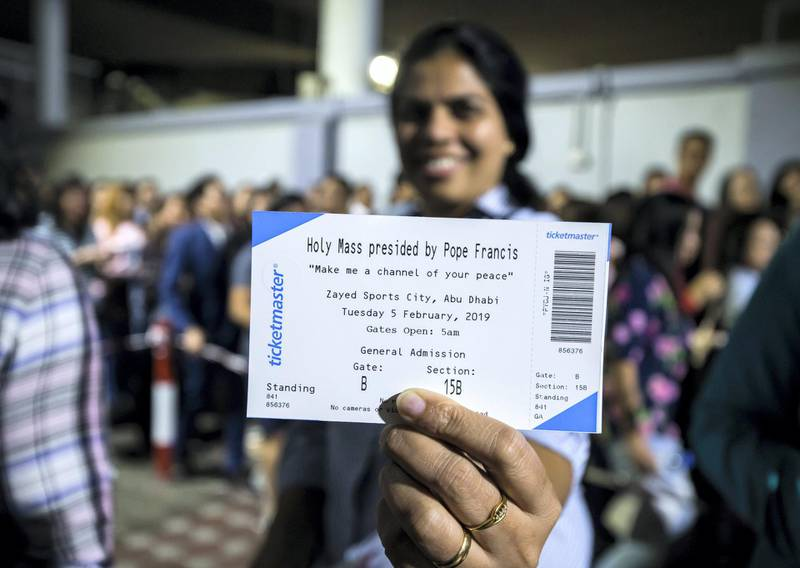 DUBAI, UNITED ARAB EMIRATES -Showing the ticket for the Papal Mass on February 3, 2018 in Zayed Sports City in Abu Dhabi at St. Mary's Catholic Church, Oud Mehta.  Leslie Pableo for The National for Patrick Ryan's story