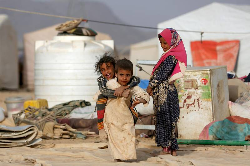 Children play at a camp for internally displaced people (IDPs) in Marib, Yemen April 5, 2021. Picture taken April 5, 2021. REUTERS/Ali Owidha