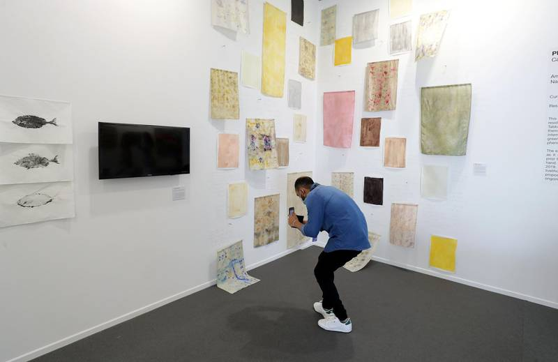 Dubai, United Arab Emirates - Reporter: Alexandra Chaves. Arts and Lifestyle. Fleeting Stains by Nahla Tabbaa. Art Dubai 2021 opens at the DIFC. Tuesday, March 30th, 2021. Dubai. Chris Whiteoak / The National