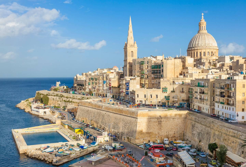 02 Dec 2014, Valletta, Malta Island, Malta --- Valletta skyline with the dome of the Carmelite Church and St. Pauls Anglican Cathedral, Valletta, Malta, Mediterranean, Europe --- Image by © Neale Clark/Robert Harding World Imagery/Corbis *** Local Caption ***  ut21ma-malta01.jpg