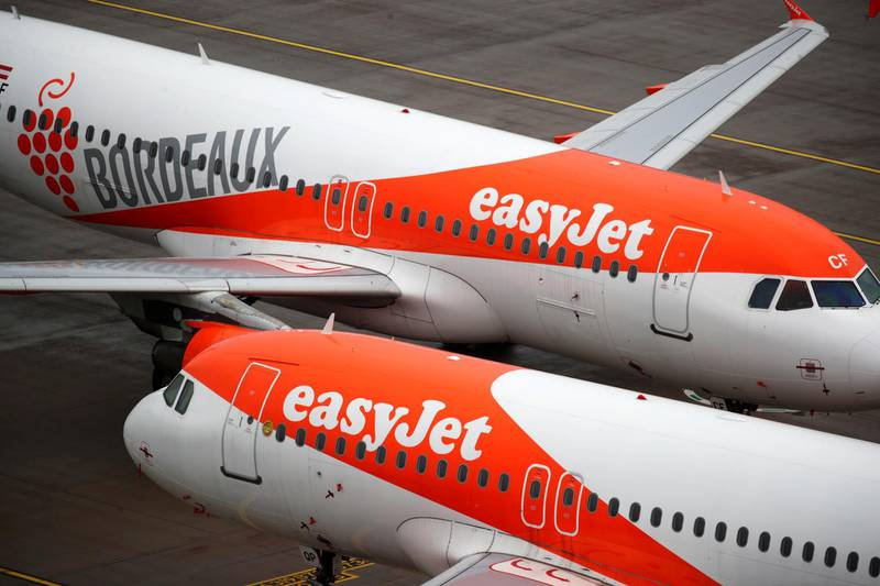 """FILE PHOTO: EasyJet aircrafts are seen on the tarmac at Terminal 1, marking the official opening of the new Berlin-Brandenburg Airport (BER) """"Willy Brandt"""", in Schoenefeld near Berlin, Germany October 31, 2020. REUTERS/Hannibal Hanschke/File Photo"""