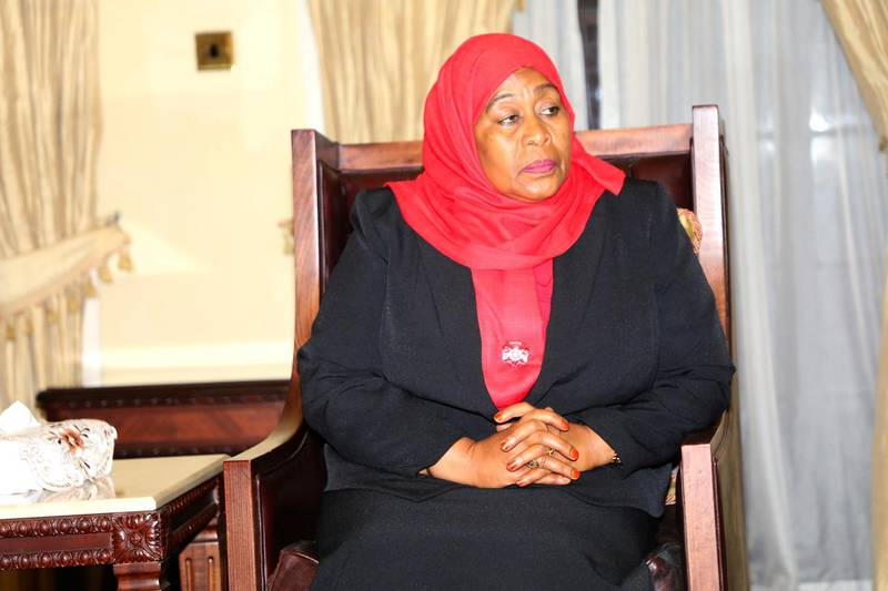 Tanzania's new President Samia Suluhu Hassan is seen after taking oath of office following the death of her predecessor John Pombe Magufuli at State House in Dar es Salaam, Tanzania March 19, 2021. Tanzania State House Press/Handout via REUTERS THIS IMAGE HAS BEEN SUPPLIED BY A THIRD PARTY. NO RESALES. NO ARCHIVES.