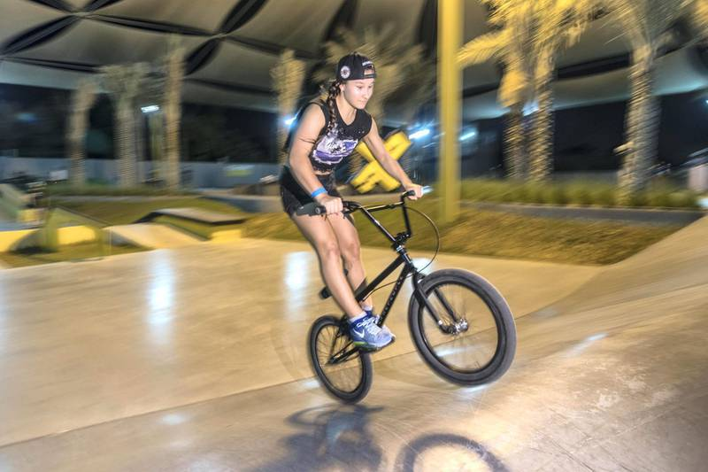 DUBAI, UNITED ARAB EMIRATES. 12 October 2017.  Skater girl article. A groth in girls taking up wheeled extreme sports has been noticed at the X Dubai Skate Park next to Kite Beach. Polina Legkun (Ukraine 14) on her BMX. (Photo: Antonie Robertson/The National) Journalist: Nick Webster. Section: National.
