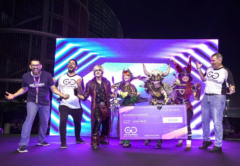 Dubai, United Arab Emirates, February 21, 2020.  Cosplay at Esports Festival World Finals at Meydan Grandstand, Dubai.  1st place winner of the contest, Isabel Cueva as Nergigante.  (third right)Victor Besa / The NationalSection:  WkReporter:  None