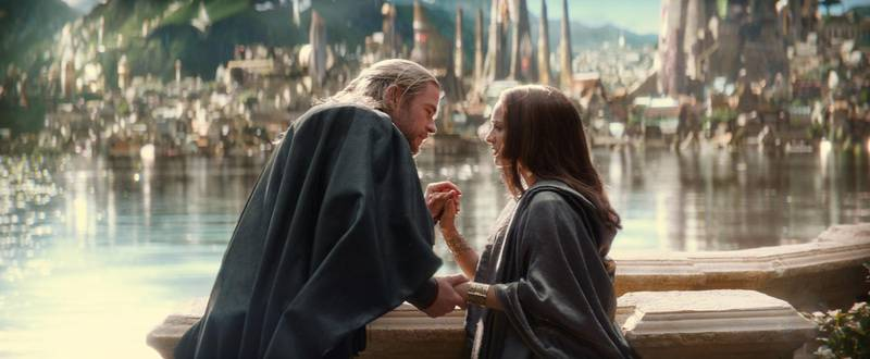 "A handout movie still of ""Marvel's Thor: The Dark World""  L to R: Thor (Chris Hemsworth) and Jane Foster (Natalie Portman)  (Courtesy: Marvel) *** Local Caption ***  AL14NO-MOVIES-THOR2.jpg"