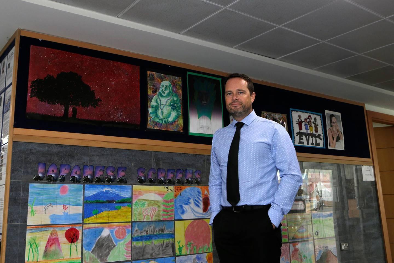 Dubai, United Arab Emirates - September 22, 2016.  Brendan Fulton ( Principal - Dubai British School ) at the school premises.  ( Jeffrey E Biteng / The National )  Editor's Note;  ID 56987 *** Local Caption ***  JB220916-AClass10.jpg