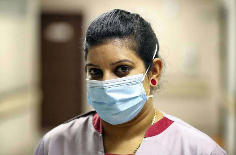 Sharjah, United Arab Emirates - Reporter: N/A. News. Health. Photo Project. Nurse Seema Mary at Medcare hospital, Sharjah. Photo project on hospital staff that Covid-19, recovered and carried on treating patiences. Monday, July 20th, 2020. Sharjah. Chris Whiteoak / The National
