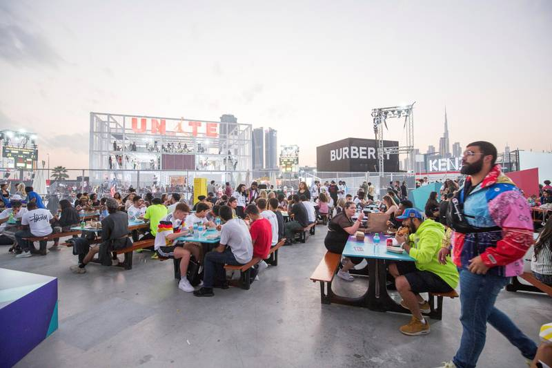 Dubai, United Arab Emirates-  Crowd breaking for a snack in the food court at the Sole Dubai Festival at D3.  Leslie Pableo for The National for Saeed Saeed's story
