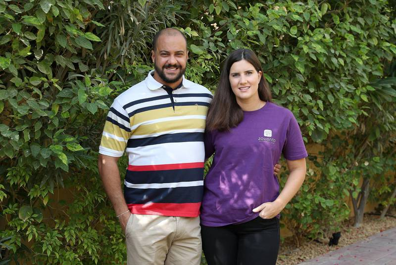 DUBAI, UNITED ARAB EMIRATES , November 13 – 2020 :-  Stephanie Lopes with her husband Jose Sobral at their villa in the Arabian Ranches in Dubai. (Pawan Singh / The National) For Business. Story by Deepthi