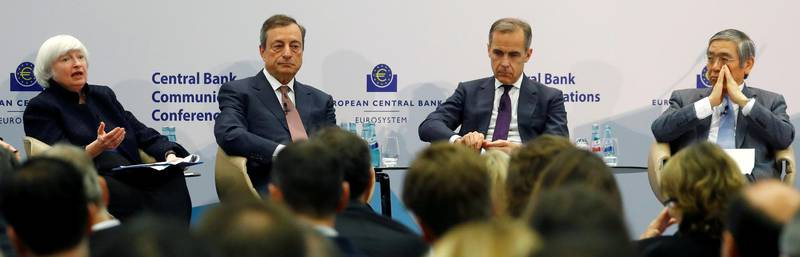 Central Bank Governors Janet Yellen of the Federal Reserve, Mario Draghi of the European Central Bank (ECB), Mark Carney of the Bank of England and Haruhiko Kuroda of the Bank of Japan attend ECB's Central Bank Communications Conference in Frankfurt, Germany, November 14, 2017.  REUTERS/Kai Pfaffenbach