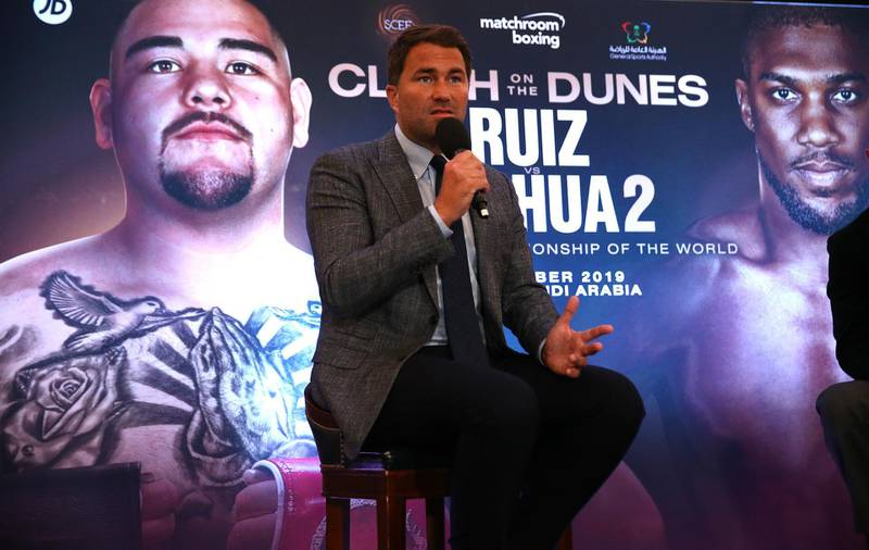 LONDON, ENGLAND - AUGUST 12:  Eddie Hearn, managing director of Matchroom Sport and Omar Khalil, Managing Partner of Skill Challenge Entertainment, official event partner in The Kingdom of Saudi Arabia address a press conference to formally announce 'Clash on the Dunes' at The Savoy hotel on August 12, 2019 in London, England. (Photo by Warren Little/Getty Images)