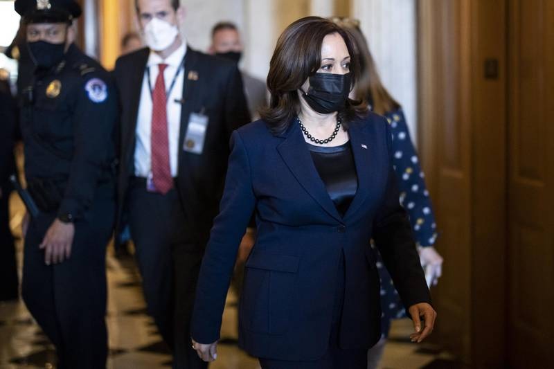 U.S. Vice President Kamala Harris, Democrat from California, wears a protective mask while walking through the U.S. Capitol in Washington, D.C., U.S. on Thursday, March 4, 2021. Senators enter the final stages of debating Democrats' $1.9 trillion pandemic relief bill today with passage in the chamber likely over the weekend and a security threat looming over the Capitol that prompted the House to wrap up work for the week ahead of schedule. Photographer: Ting Shen/Bloomberg