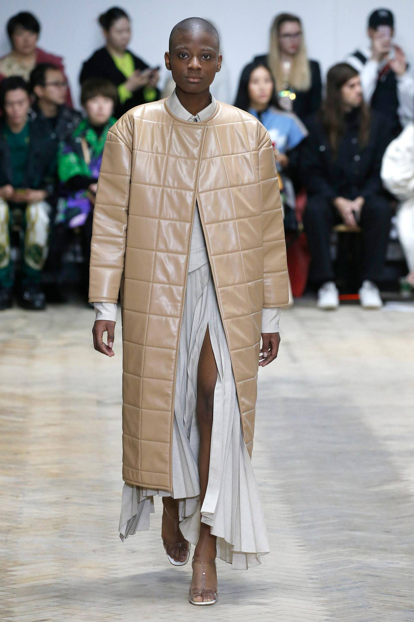 A model walks the runway at the A.W.A.K.E. MODE show during London Fashion Week February 2019 on February 16, 2019 in London, England.