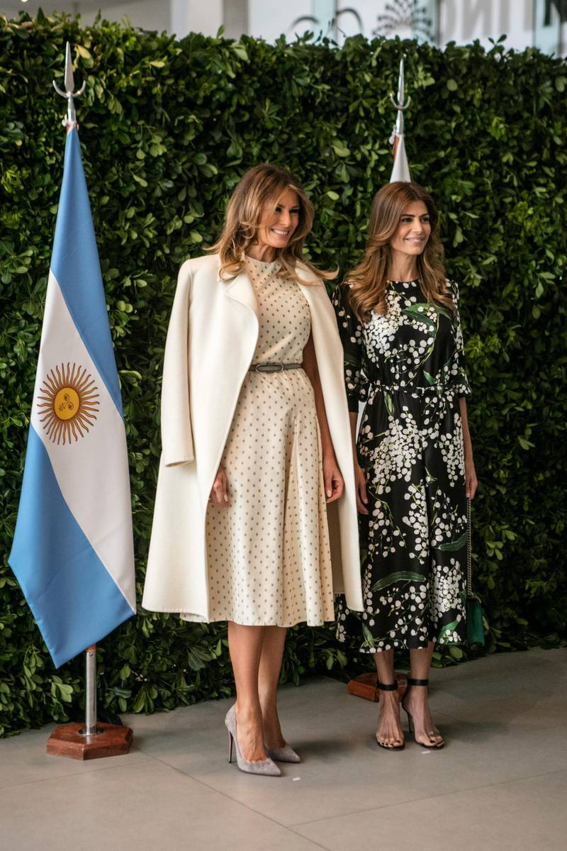 BUENOS AIRES, ARGENTINA - DECEMBER 01: (L-R) U.S. First Lady Melania Trump poses First Lady of Argentina Juliana Awada during a guided visit to MALBA (Latin American Museum of Arts) as part of G20 Partners' Programme on December 01, 2018 in Buenos Aires, Argentina. (Photo by Ricardo Ceppi/Getty Images)