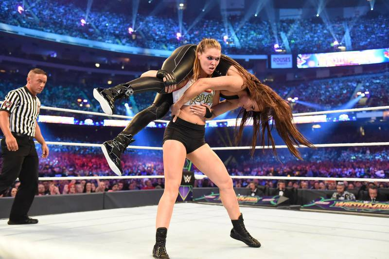 Ronda Rousey manhandled Stephanie McMahon for much of the action in New Orleans. Image courtesy of WWE