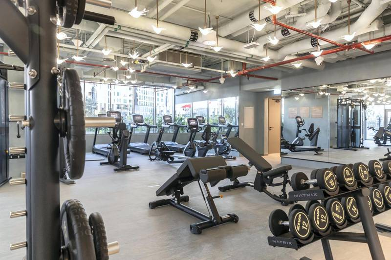 DUBAI, UNITED ARAB EMIRATES. 30 JANUARY 2021. The close to completion MAG 319 apartment block in Downtown for a piece on co-living. Dedicated gym facilities. (Photo: Antonie Robertson/The National) Journalist: Georgia Tolley. Section: National.
