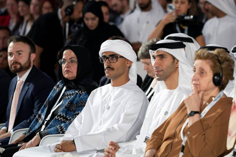 SAADIYAT ISLAND, ABU DHABI, UNITED ARAB EMIRATES - November 19, 2019: HE Dr Thani Al Zeyoudi, UAE Minister for Climate Change and Environment (2nd R) and HH Sheikh Zayed bin Mohamed bin Zayed Al Nahyan (3rd R), attend the Reaching the Last Mile Forum, at the Louvre Abu Dhabi.  ( Mohamed Al Hammadi / Ministry of Presidential Affairs ) ---