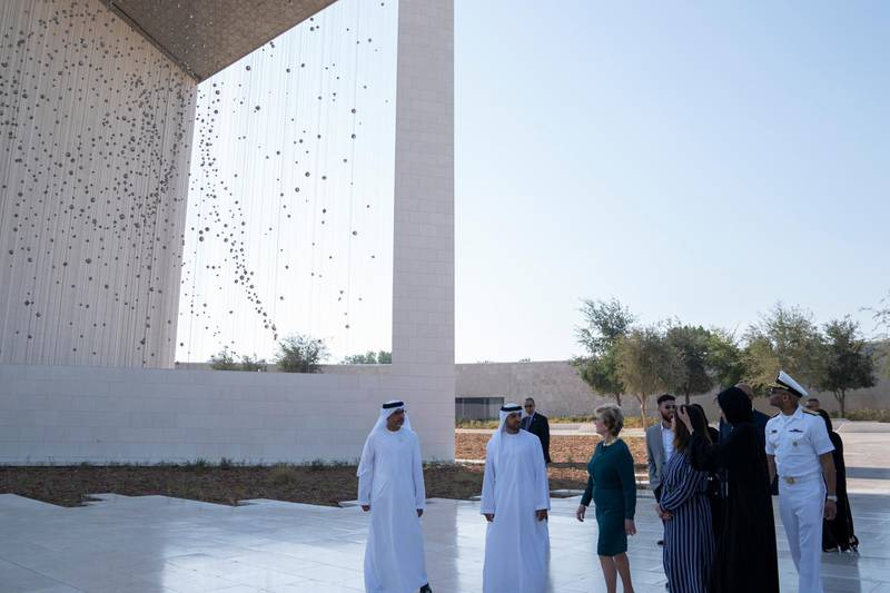 ABU DHABI, UNITED ARAB EMIRATES - March 13, 2019: HE Falah Mohamed Al Ahbabi, Chairman of the Department of Urban Planning and Municipalities, and Abu Dhabi Executive Council Member (2nd L) and Karen Pence, Second Lady of the United States (4th L), tours the Founders Memorial prior exchanging gifts during a reception for the Special Olympics World Games Abu Dhabi 2019. Seen with Linda McMahon, Administrator of theSmall Business Administration (3rd L).  ( Mohammed Al Hammadi / Ministry of Presidential Affairs )?